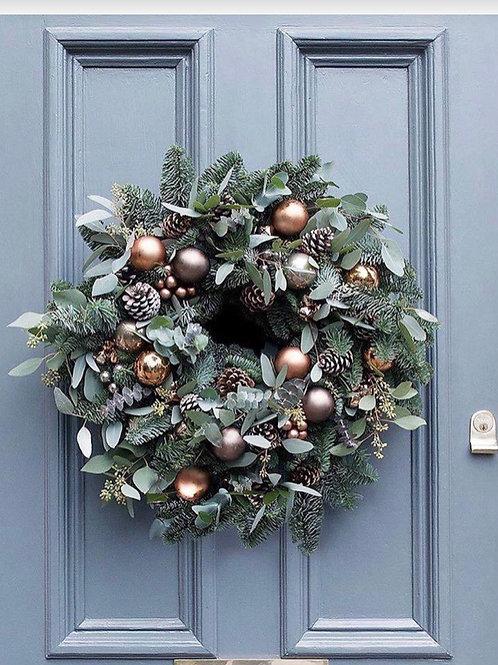 rose gold pine door wreath