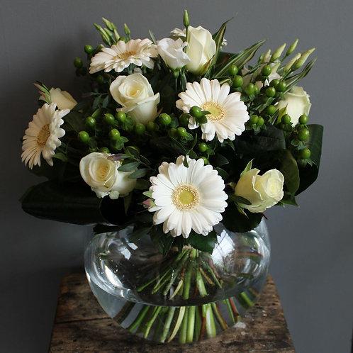 White fishbowl Vase Arrangements