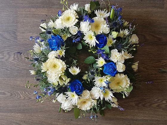 12inc blue & white wreath