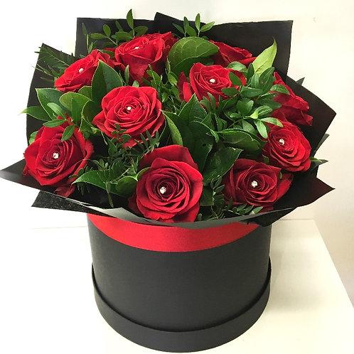 12 red rose diamond hatbox