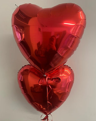 X2 red heart helium balloons