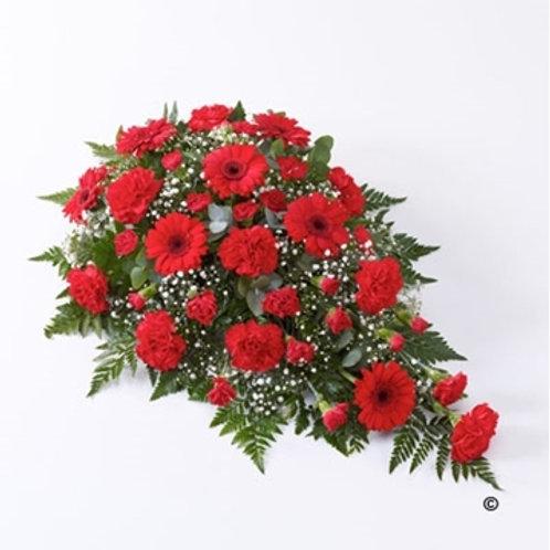 Carnation and Germini Teardrop Spray- red