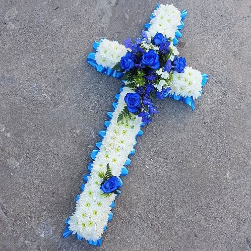 5ft blue and white cross