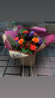 Autumnal rich purple and orange handtied