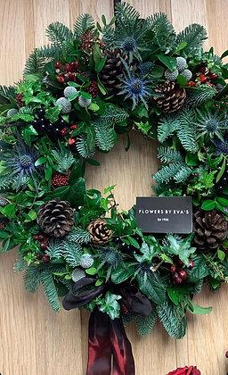 Blue pine door wreath