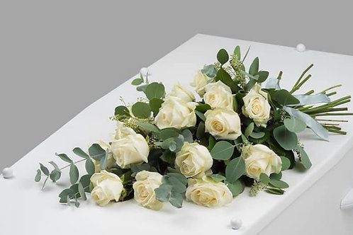 x14 white roses tied sheaf