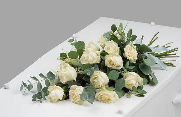 x14 white roses tied sheaf