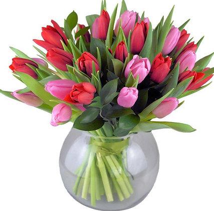Tulips vase ( pink & red )