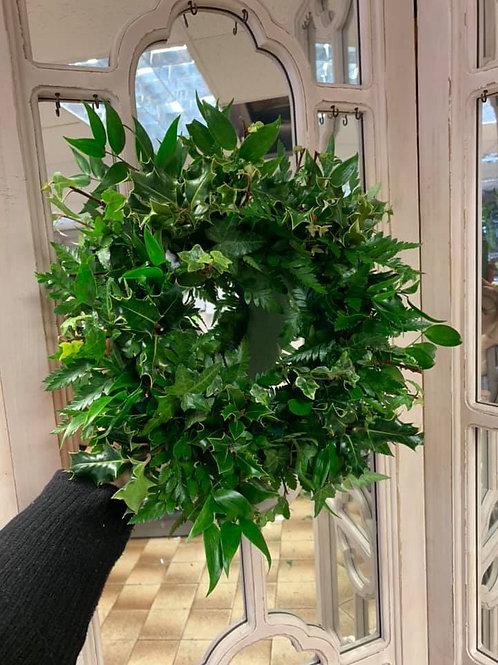 12 inc mixed foliage door wreath