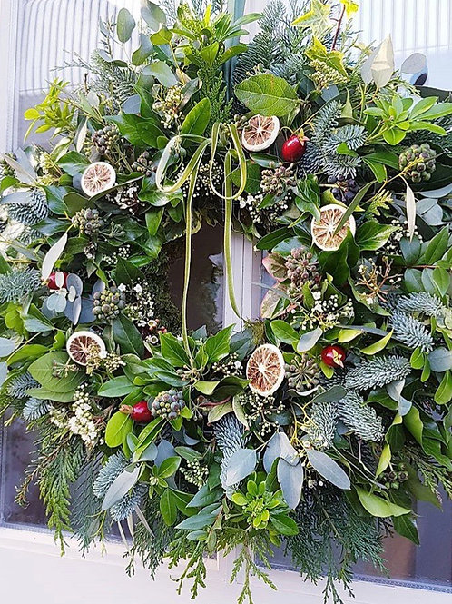 Orange and lime Christmas door wreath