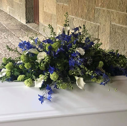 4ft Blue and white coffin spray