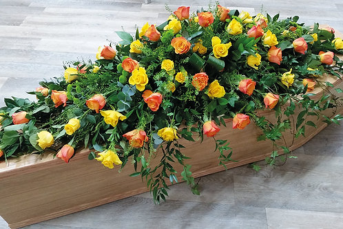5ft Orange & yellow rose Casket spray