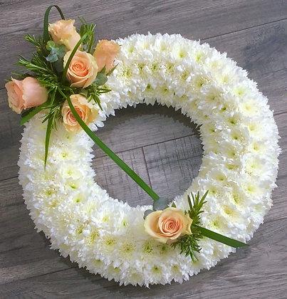 16inc Based Wreath peach & white