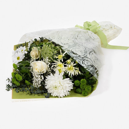 Green and white come wrap bouquet