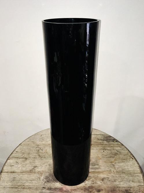 Tall Black Cylinder Vase