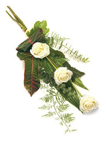 x3 white rose tied sheaf