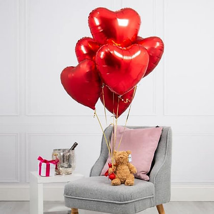 x6 red heart balloon bundle and teddy