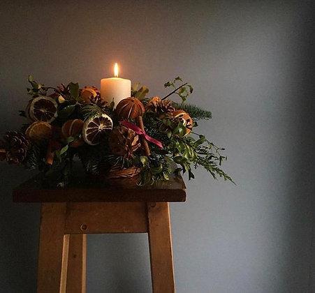 Orange warmth table arrangement