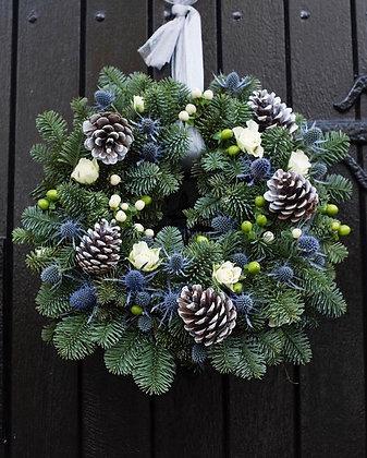 Blue pine & blue this door wreath