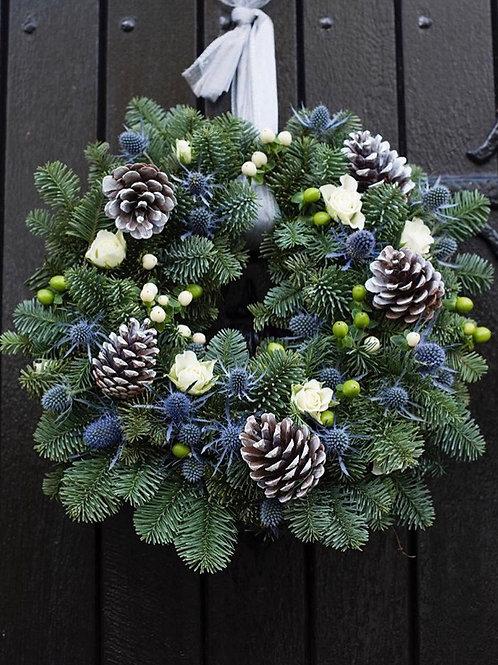 Blue pine & blue thistle door wreath
