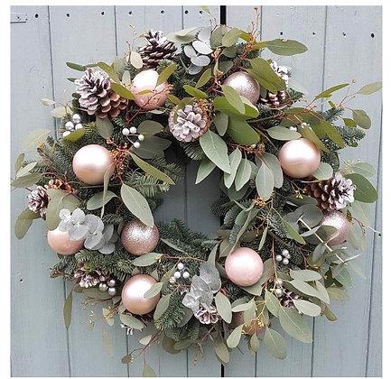Pastel pinks Christmas door wreath