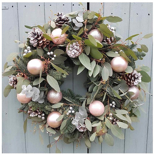 Pastel pinks Christmas door wreath