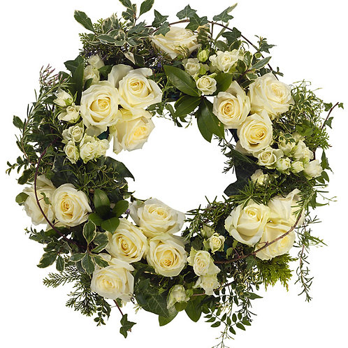 White rose custered wreath