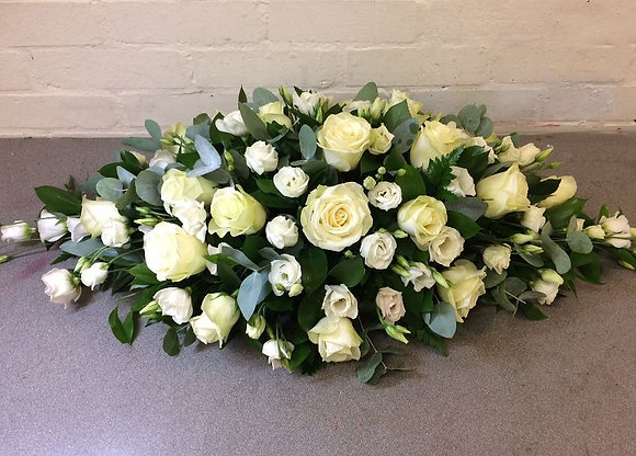 2ft white rose & Eustoma coffin spray