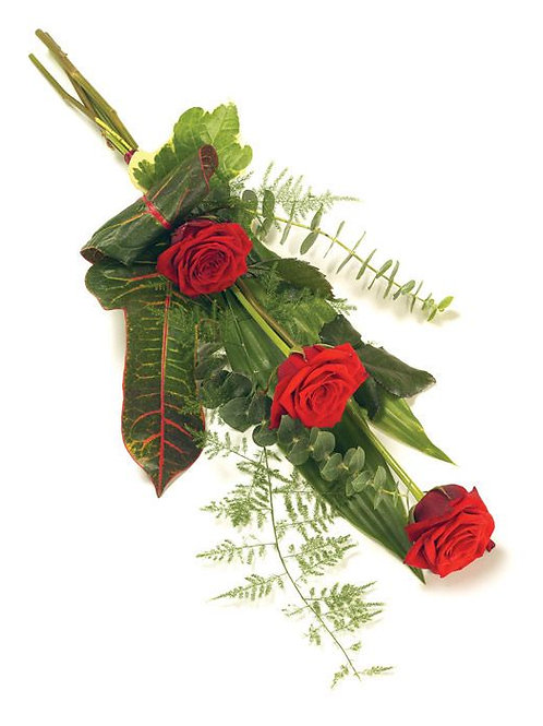 x3 red rose tied sheaf