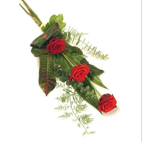 X3 red rose tied sheaf
