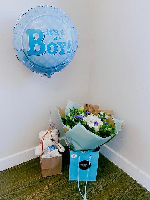 Baby boy handtied , balloon & teddy