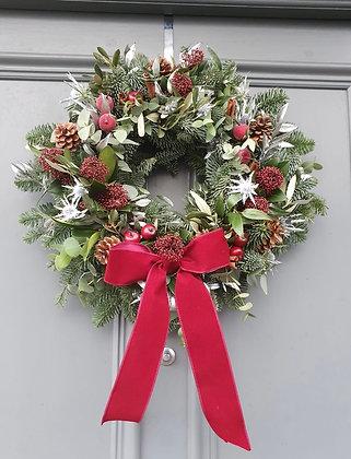 Red wine door wreath 16inc