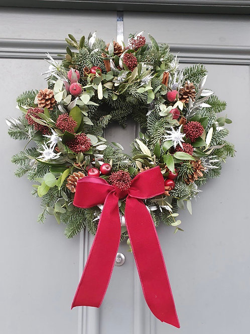 Red wine door wreath 16inc