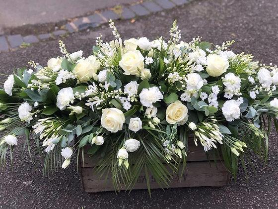 3ft seasonal white coffin spray -1001