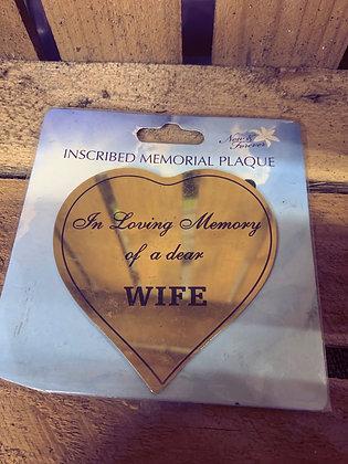 In loving memory of a dear wife plaque