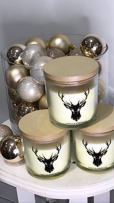 Vanilla & amber wood candle