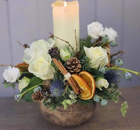 Rustic candle arrangement