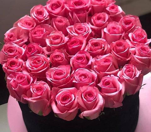 Large Pink rose hat box