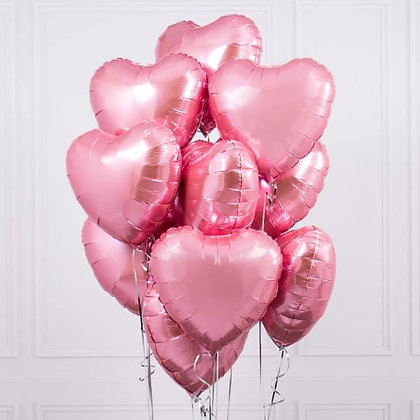 x10 pink Heart balloon bundle