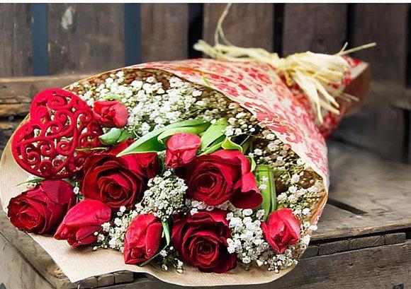 Red rose & tulip wrap