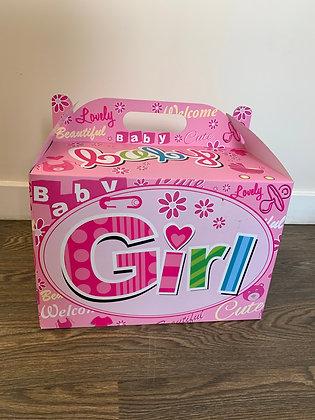 Baby girl balloon in a box