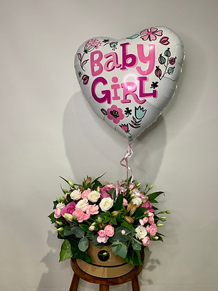 Baby girl hatbox & balloon