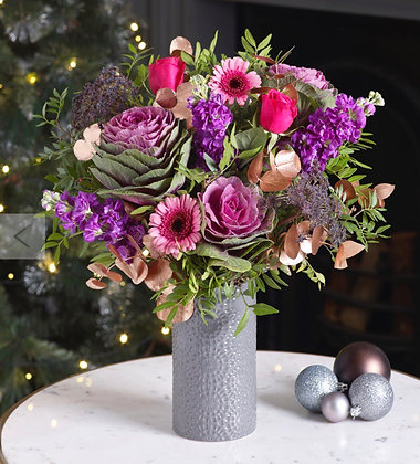 Rose gold and purple passion vase