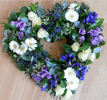Blue , lilac & white clustered open heart