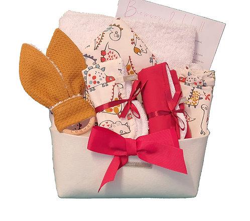 DINO cestita+capa baño+toallitas+babero