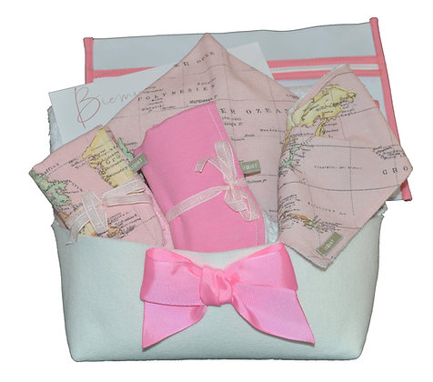 Canastilla mapa-mundi rosa
