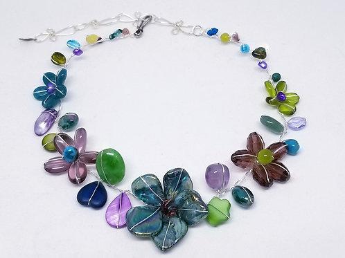 purple green gem flower collar sw