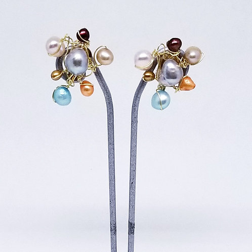 multi pearl cluster earring gw