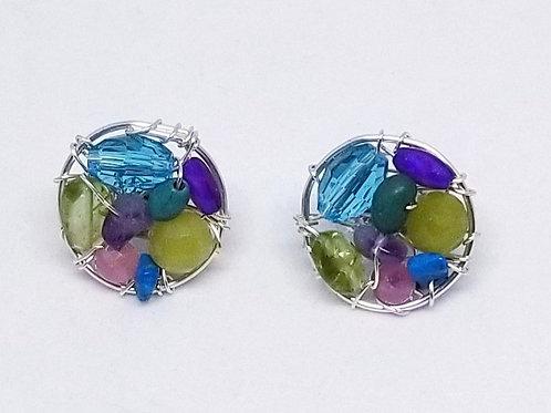 purple green gem button earring sw