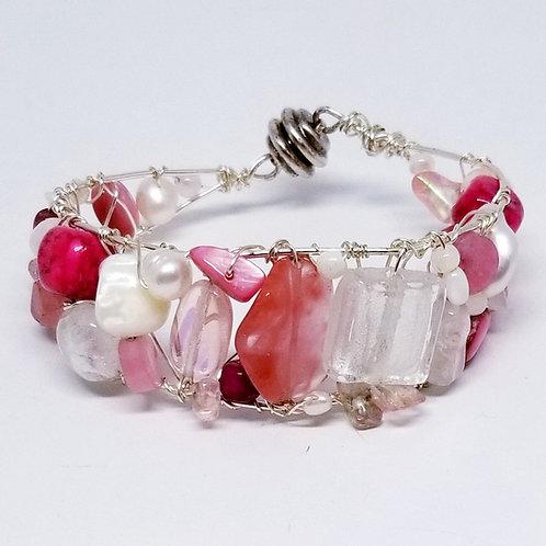 pink white gem cuff bracelet sw